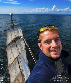 Michael Schrodt on sailing boat